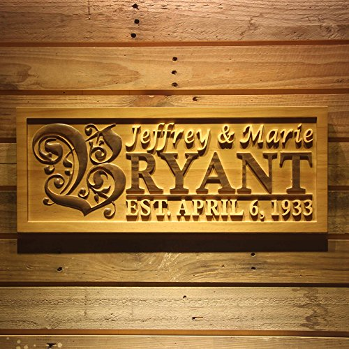 wpa0246 Personalized Custom Wedding Anniversary Family Sign Surname Last First Name Rustic Home Décor Housewarming Gift 5 Year wood Anniversary Gift Wooden Signs - Standard 23