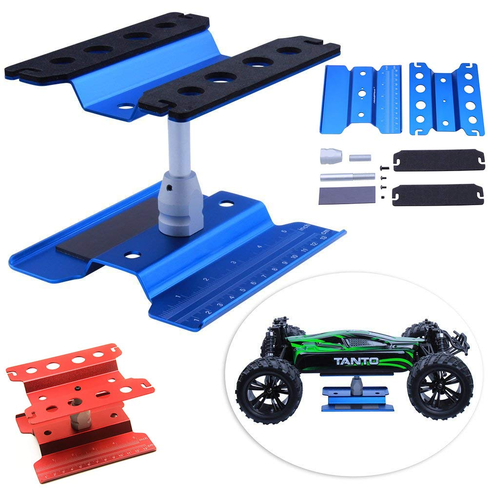 Fashionwu Work Stand Repair Workstation 360 Degree Rotation Lift/Lower Work Platform for 1/8 1/10 Scale RC Cars Trucks Buggies TRX4 SCX10 D90 General Blue by Fashionwu (Image #2)