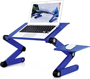 Adjustable Laptop Stand, RAINBEAN Laptop Desk with 2 CPU Cooling USB Fans for Bed Aluminum Lap Workstation Desk with Mouse Pad, Notebook Holder Sofa, Bed Table Office Tray Blue