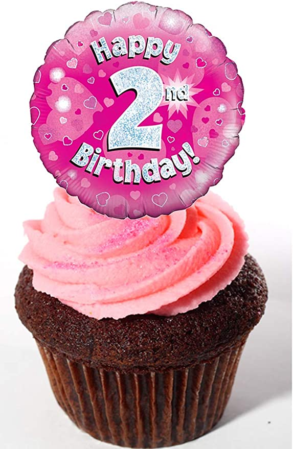 Strange Made4You Happy 2Nd Birthday Girl Edible Cupcake Toppers Pink Personalised Birthday Cards Beptaeletsinfo