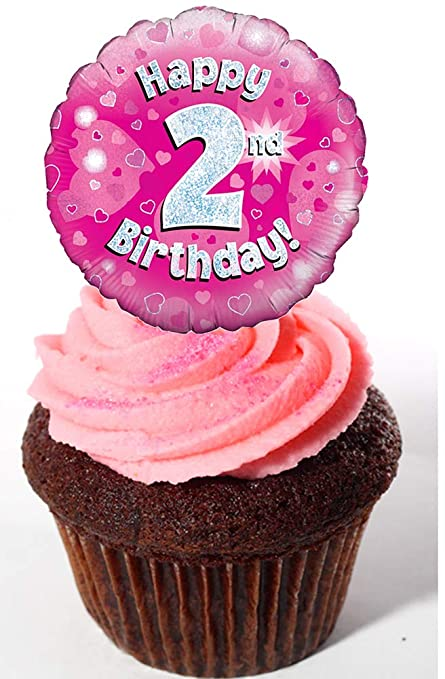 Made4You Happy 2nd Birthday Girl Edible Cupcake Toppers Pink Stand Up Wafer