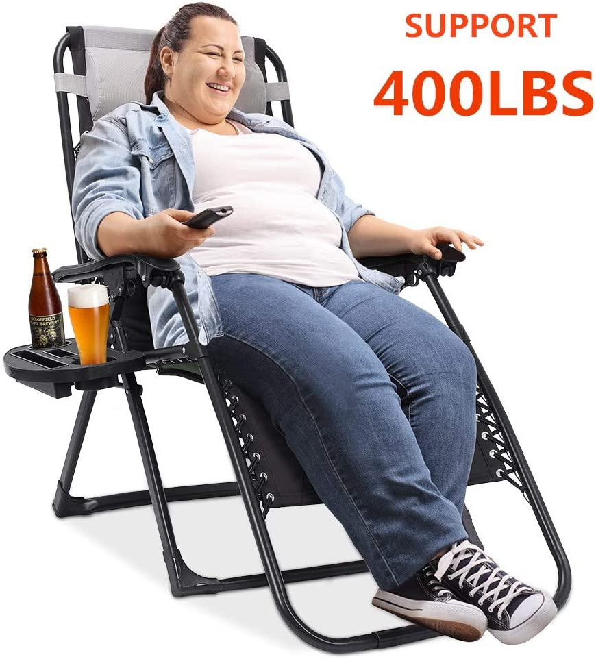 Oversized Zero Gravity Chair Padded Support 400 lbs Heavy Duty XL Patio Lounge Chair Recliner 75 inch Extra Long Camping Beach Outdoor Chair with Cup Holder and Support Pillow
