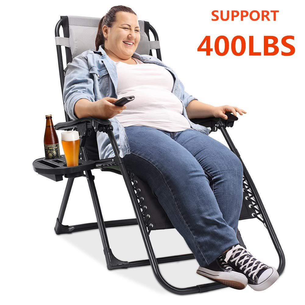 Oversized Zero Gravity Chair Padded Support 400 lbs Heavy Duty XL Patio Lounge Chair Recliner 75 inch Extra Long Camping Beach Outdoor Chair with Cup Holder and Support Pillow by Ezcheer