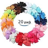 YGSAT 20 colores pelo minúsculo hecho a mano de la cinta del Grosgrain del boutique arquea los clips para niñas y bebés