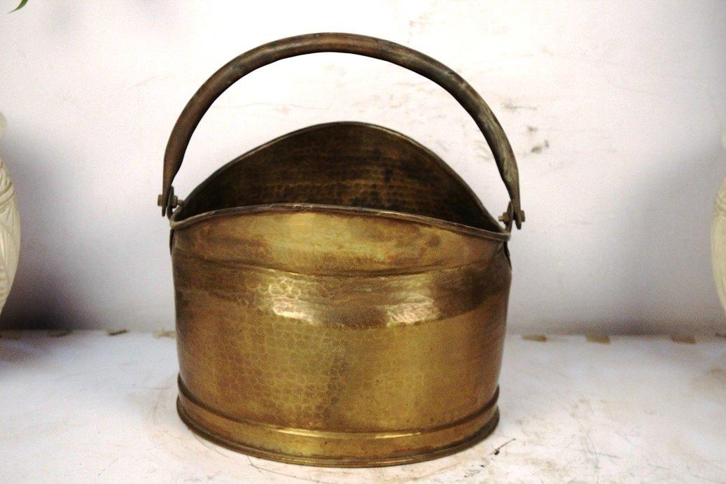 Indianshelf Handmade Bronze Bucket Small X Statues Decoration Designer Vintage Statement Pieces Online New by Indian Shelf