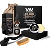 Beard Growth Kit, Beard Growth Oil Serum for Men, Facial Hair Growth Kit with Beard Balm + Comb, Titanium Beard Roller…