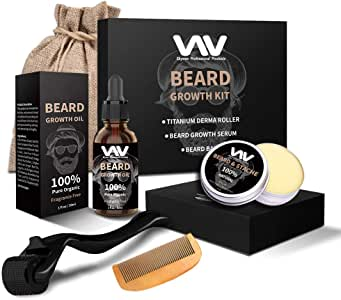 Beard Growth Kit, Beard Growth Oil Serum for Men, Facial Hair Growth Kit with Beard Balm + Comb, Titanium Beard Roller Kit for Men