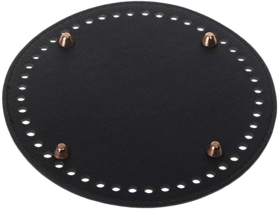 Black RUZYY Round Leather Bottom with Holes Rivet for Knitting Bag Handbag DIY Shoulder Crossbody Bags Accessories