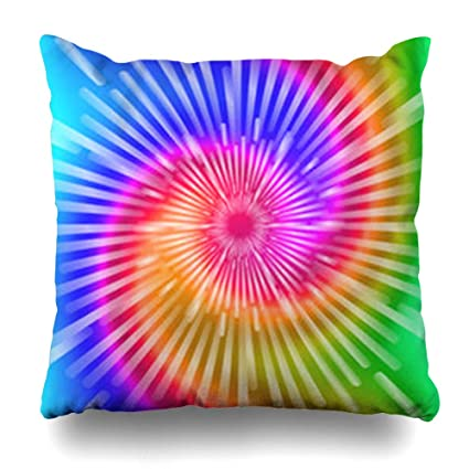 VivYES Throw Pillow Covers Ashbury Blue Tye Tie Dye Colors Realistic Spiral  Purple Abstract Pattern Swirl Rainbow Zippered Pillowcases Square Size ...