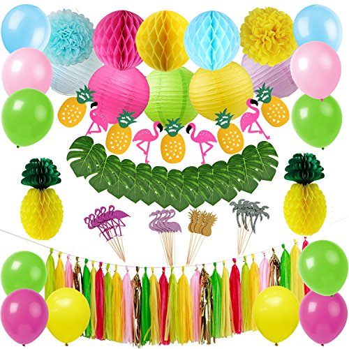 Tropical Pink Flamingo Luau Hawaiian Party Decorations Kit Tropical Leaves Flamingo Banner Honeycomb Pineapple Ball for Jungle Beach Pool Moana Theme Summer Birthday Baby Shower Party Supplies -