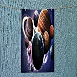 SeptSonne quick dry towel Solar System Planets All Together in Mercury Jupiter Globe Saturn Universe Lightweight, High Absorbency W35.4 x H11.8 INCH
