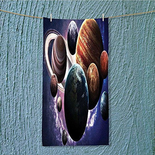 SeptSonne quick dry towel Solar System Planets All Together in Mercury Jupiter Globe Saturn Universe Lightweight, High Absorbency W35.4 x H11.8 INCH by SeptSonne