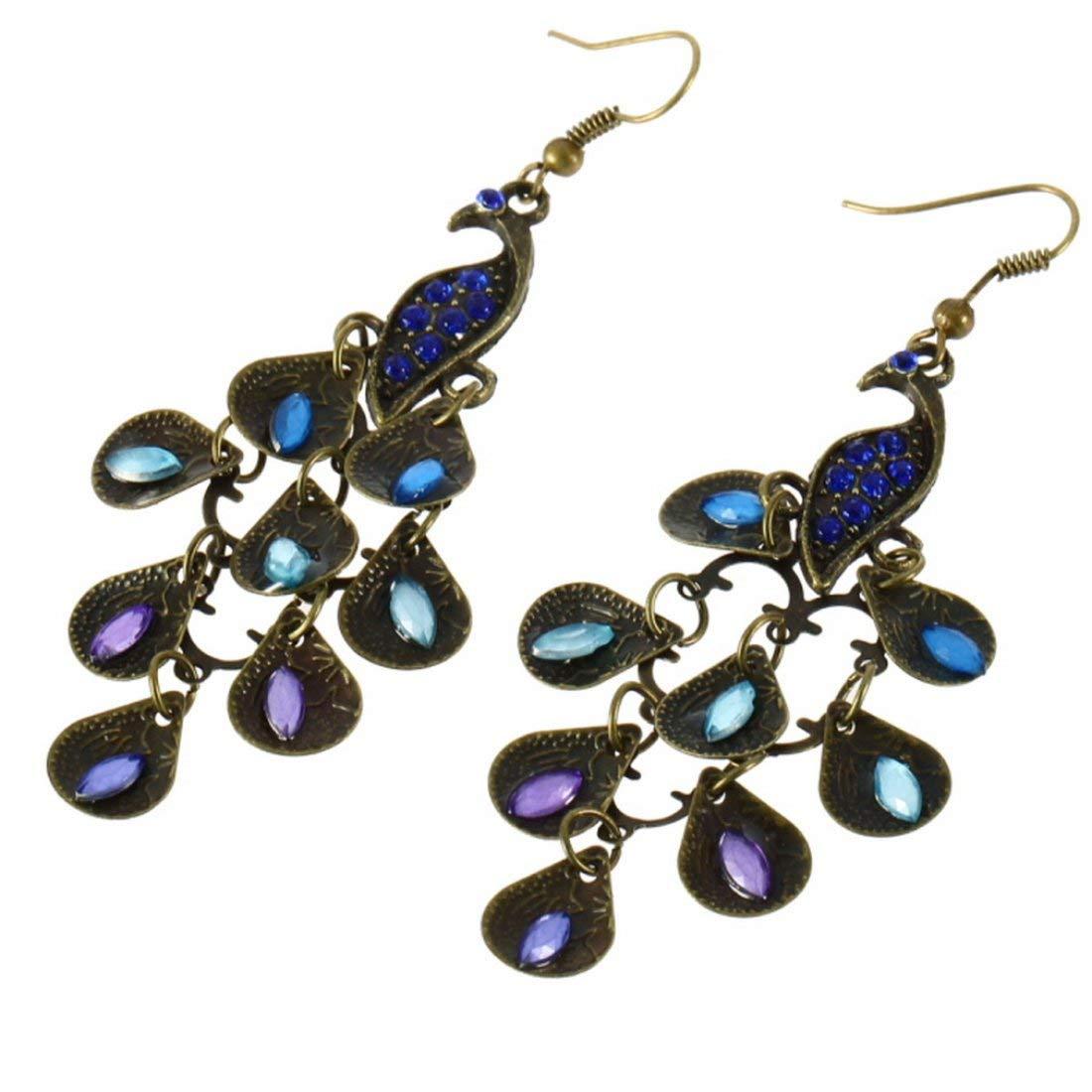 Pendente lungo donna stile bohemien Vintage Retro Orecchini blu pavone Facile abbinare i vestiti adatti per le feste Formulaone