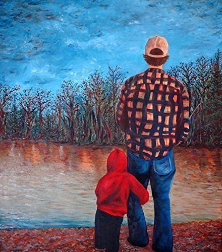 Gifts for Dad, Me and Dad Fishing Fine Art - 16 x 20 Canvas , Gift for Him, Fishing Gifts