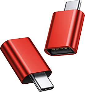 JSAUX USB Type C Male to USB A 3.0 Female Adapter 2-Pack, [Side-by-Side Use] Thunderbolt 3 Adapter Compatible with MacBook Pro 2018 2017 Air, Dell XPS 13 7390, Galaxy S20 S20+ S10 Plus Ultra(Red)