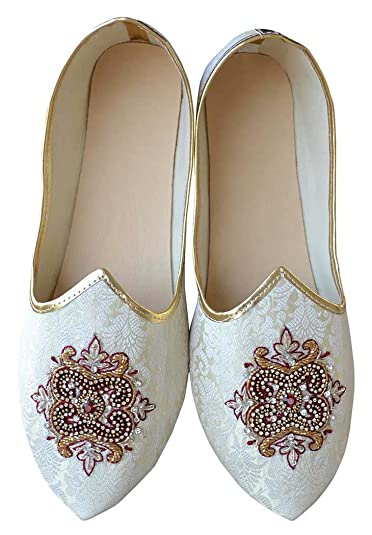 Mens Cream Indian Wedding Embroidered Shoes MJ0963