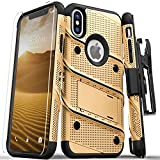 Zizo Bolt Series Compatible with iPhone X Case Military Grade Drop Tested with Screen Protector, Kickstand and Holster iPhone XS Gold Black
