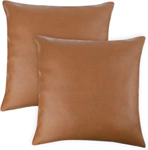 CDWERD 2pcs Modern Faux Leather Throw Pillow Covers for Couch Sofa Bed 18 x 18 Inches