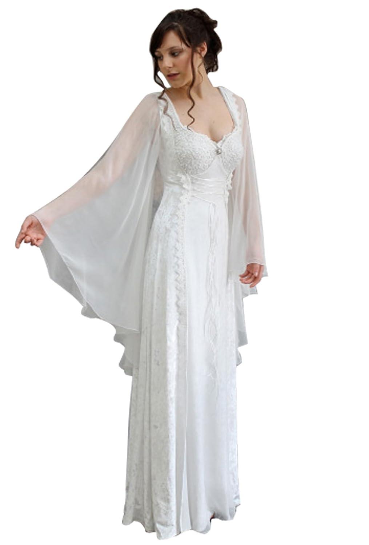 Dressvip M/édi/évale Robe de Mari/ée pour Mariage Chic et Glamour 2018 Manche Cape Longueur Sol avec Dentelle Perles Blanche
