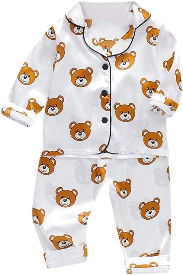 12-18 Months//M, Pink Toddler Baby Clothes Boys Girl Cartoon Bear Print T Shirt Shorts Summer Pajamas Outfits Set Sleepwear