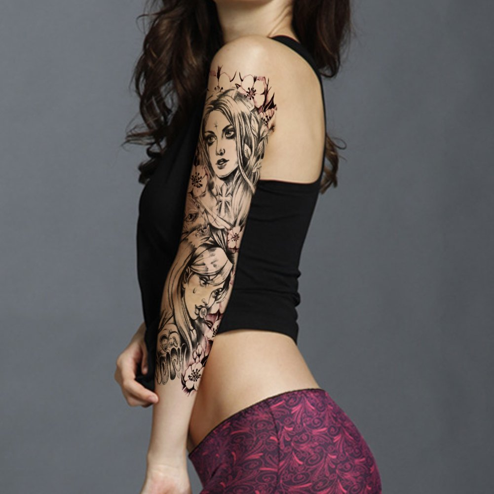 TAFLY Temporary Tattoos Full Arm Extra Large Waterproof Body Art Transfer Tattoos Sticker Black for Women 2 Sheets