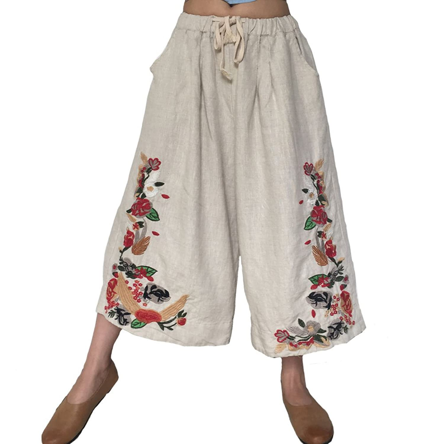 Aeneontrue Women's Casual 100% Linen Wide Leg Pants With Floral Embroidery Cropped Trousers With Elastic Waist