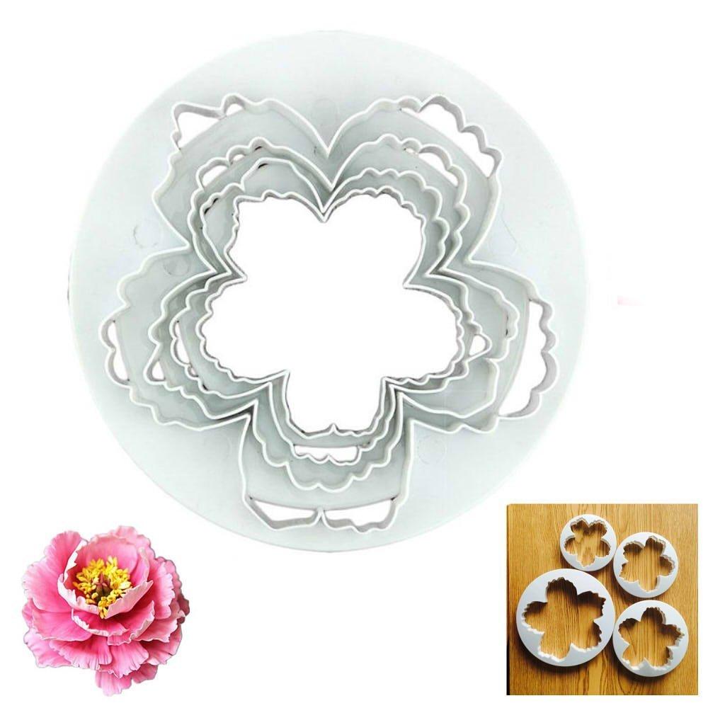 GOOTRADES 4 Pcs Peonies Petal Shape Cutter Fondant Cake Sugar Paste Icing Cutting Tool TRTA11A
