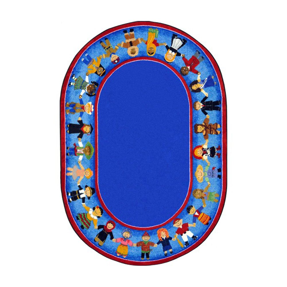 Joy Carpets Kid Essentials Early Childhood Oval Children of Many Cultures Rug, Multicolored, 7'8'' x 10'9''