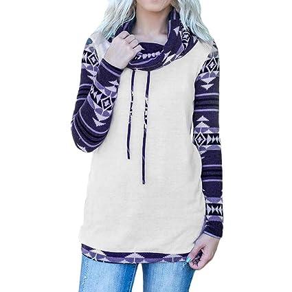 951c3a7d19e42 CCSDR Plus Size Tops for Women Clearance Sale 2018 New Casual Women s  Fashion Hoodies   Sweatshirts Women s Aztec Long Sleeve Cowl Neck Geometric  Ethnic ...