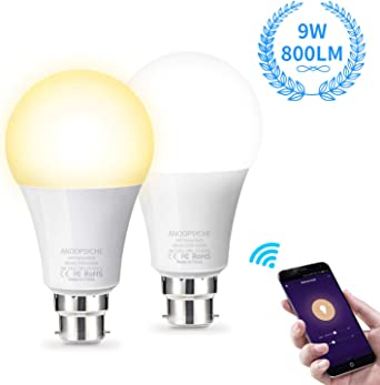 No Hub Required AISIRER Smart Light Bulb 1 Pack Works with Alexa 2700K Google Home and IFTTT WiFi Smart Bulb Alexa Light Bulbs B22 Bayonet Colour Dimmable 7W Equivalent 60W