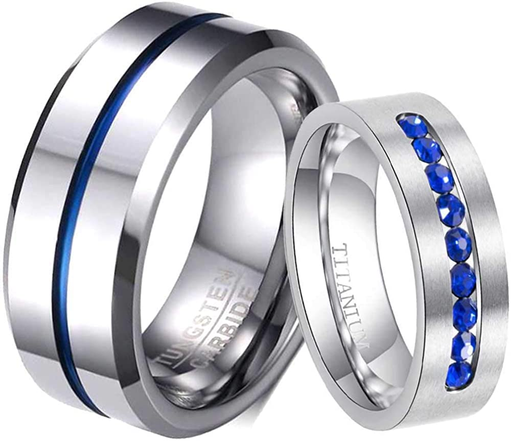 ringheart Two Rings His and Hers Stainless Steel Couple Rings Bridal Set Blue Cz Mens Wedding Band Womens Wedding Ring