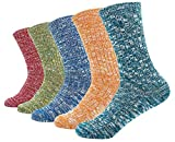 Women's Lady's 5 Pack Vintage Style Cotton Crew Socks Multi Color One Size