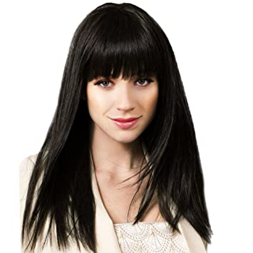 Amazon Com Dovewill Real Human Hair Full Wigs Neat Bangs Straight
