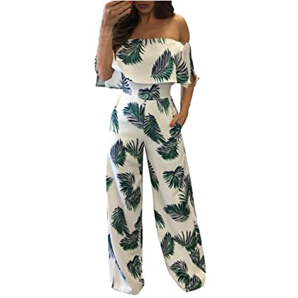 664c2b743c92 Women Jumpsuit Daoroka Sexy Off Shoulder Floral Print Ruffled Casual  Bodycon Rompers Wide Long Pants Loose