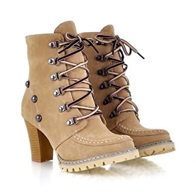 Charm Foot Fashoin Studded Womens Chunky Heel Martin Boots High Top Boots  (4.5 c1a2b4b9a60d