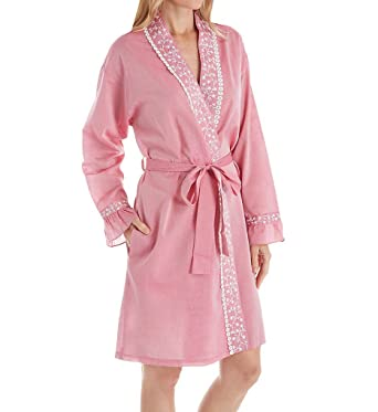 1954c5348e Eileen West Chambray 100% Cotton Short Wrap Robe (5119906) at Amazon Women s  Clothing store