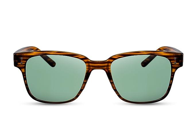 96d8c4ab422b6f Cheapass Sonnenbrille Holz-Optik Braun Grüne-e Linsen UV-400 Retro Natur-