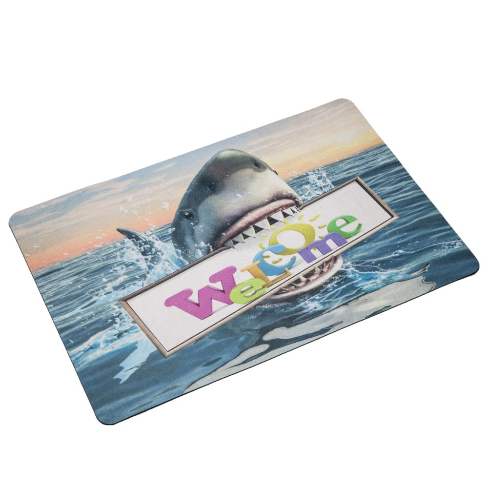 """Kitchen Home Comfort Floor Mat,40x60cm"""", A Shark Holding a Billboard in his mouth Write''Welcome''"""