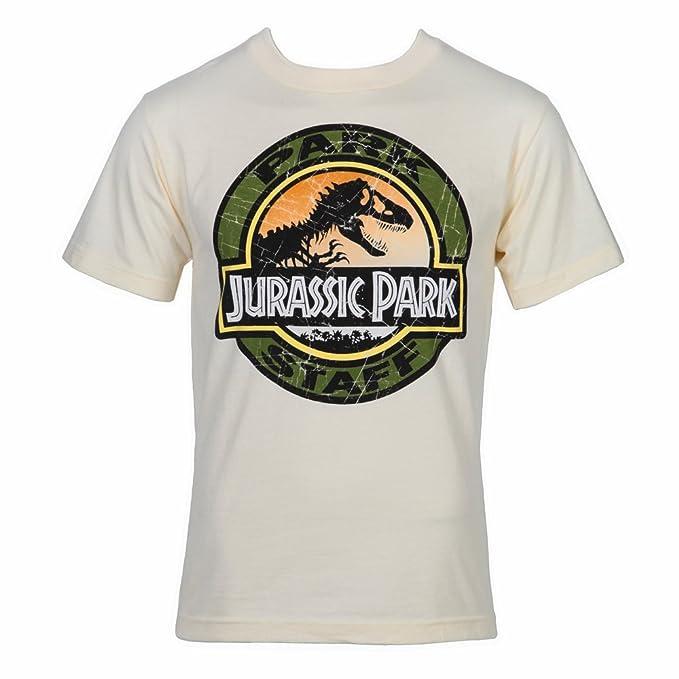 d957ba0eaad Amazon.com  Jurassic Park Movie Park Staff Logo T-Shirt - Sand  Clothing