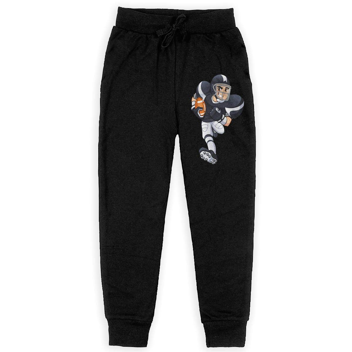 Boys Casual Sweatpants Cartoon American Football Player Adjustable Waist Running Pants with Pocket
