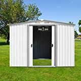 Kinbor 8' x 8' Outdoor Steel Garden Storage Utility Tool Shed Backyard Lawn White w/Door