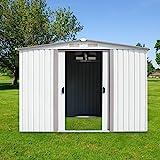 Peach Tree 8' x 8' Outdoor Steel Garden Storage Utility Tool Shed Backyard Lawn White w/Door