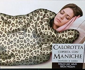 Coperta Con Le Maniche Leopardata.Max Italia Spa Calorotta Coperta Plaid Con Maniche Da Indossare 180