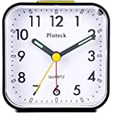 Pluteck Non Ticking Analog Alarm Clock with Nightlight and Snooze/Ascending Sound Alarm/Simple to Set Clocks Battery Powered Small Black
