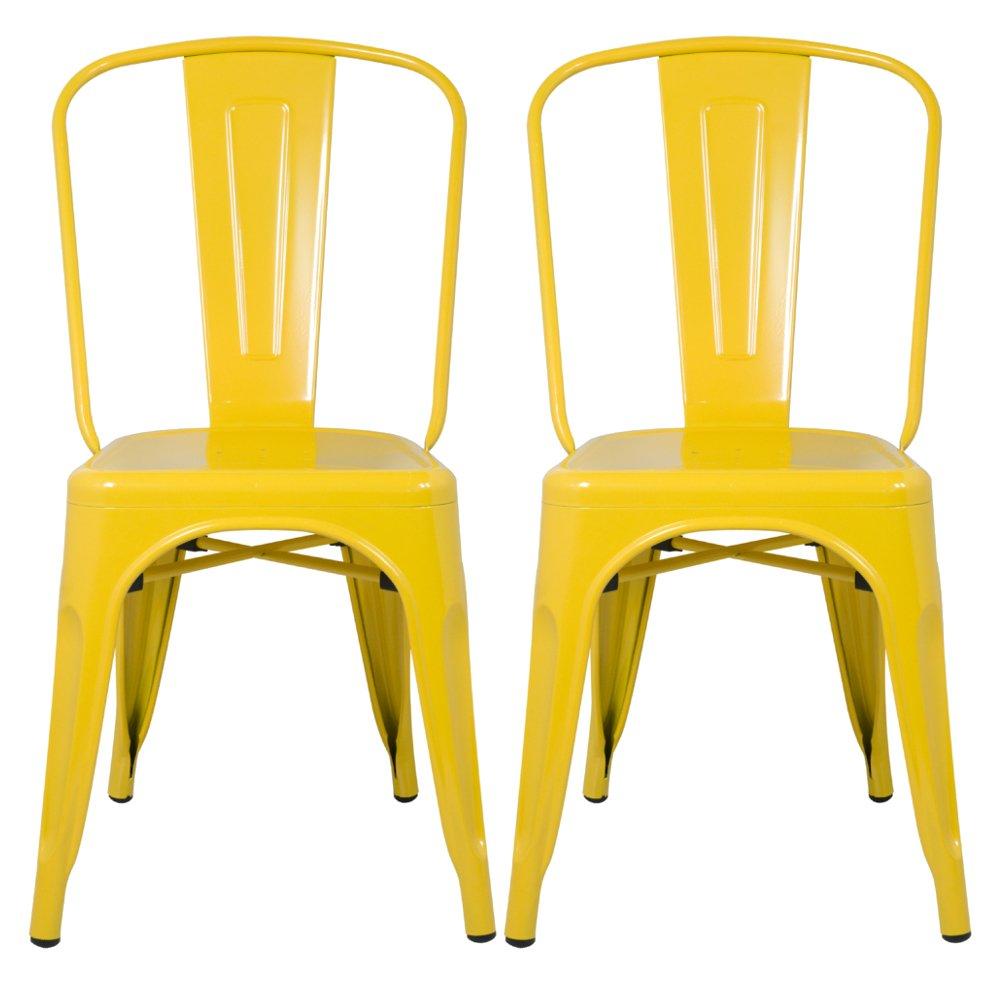 amazon com designer modern tolix dining chair 4 yellow chairs