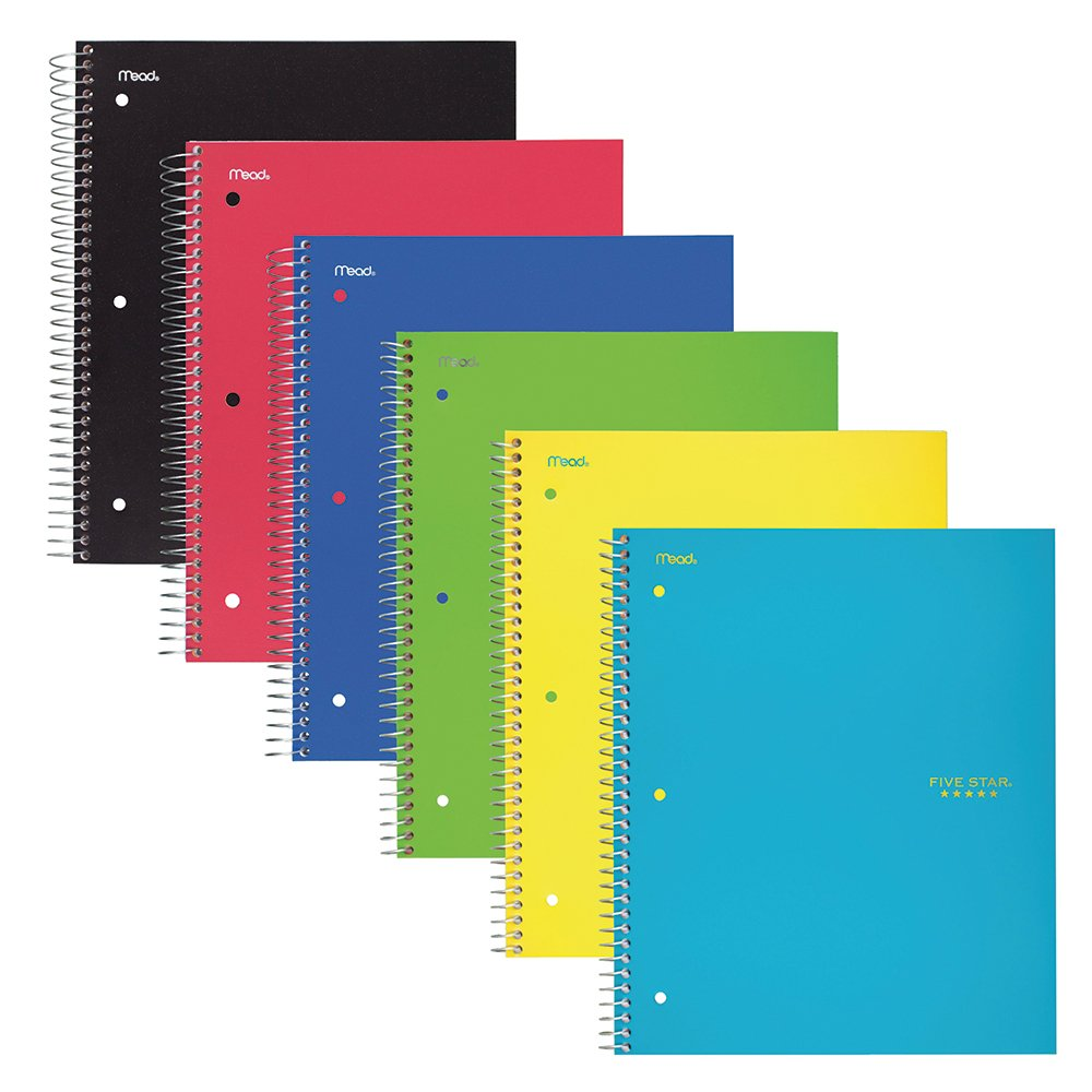 Five Star Spiral Notebooks, 2 Subject, College Ruled Paper, 120 Sheets, 11'' x 8-1/2'', Assorted Colors, 6 Pack (73529)