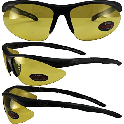 98489c2a9d Amazon.com  BlueWater Polarized Islander 2 Sunglasses Black Frames Yellow  Tint Lenses by Global Vision  Automotive