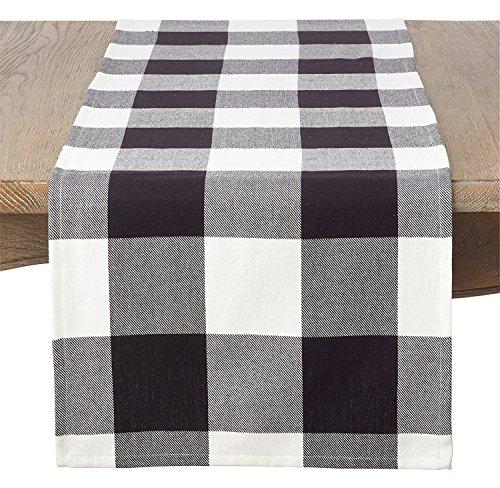 (Fennco Styles Buffalo Check Plaid Cotton Table Linen Throw Pillow Tablecloth Runner Napkin Placemat (Black, 16