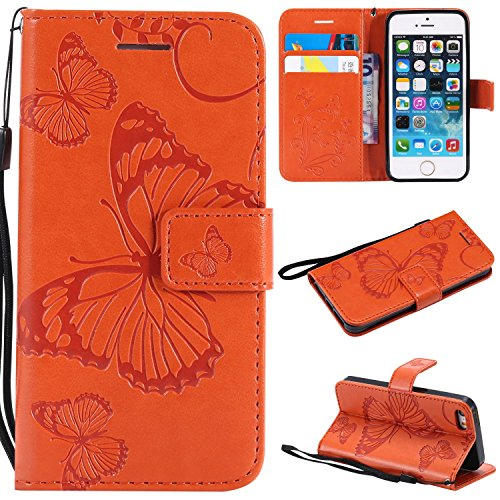 iPhone 5/5S/SE Wallet case,Ankoe Pretty Retro Butterfly Flower Design Pu Leather Book Style Wallet Flip Case Cover iPhone 5/5S/SE (Orange) (Retro Jordan Iphone 5 Case)