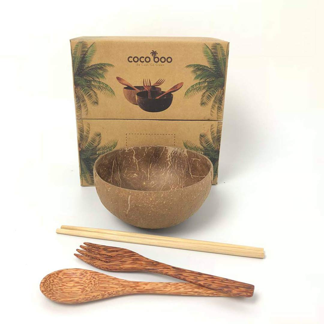 Cocoboo 100% Natural Coconut Shell Bowls, Artisan Handmade, Salad Smoothies Food Servings, Gift Set - Set Of 1 Bowl 1 Spoon 1 Fork 1 Pair Of Chopsticks